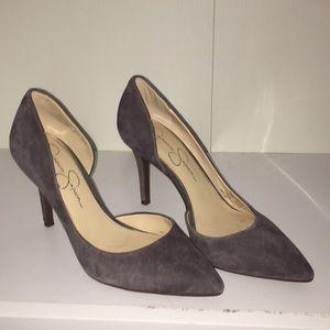 Suede gray/purple heels
